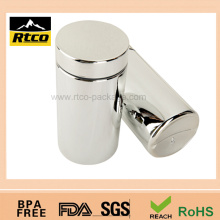HDPE silver bottle with a silver lid for nutritional supplements
