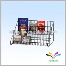 Fábrica de fornecedor de moda por atacado de moda em metal bancada de varejo de dvd cd display stand