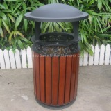 Meatl and wooden outdoor bin waste container