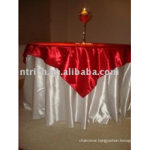 Round Hotel satin tablecloth and overlay, Banquet table cover, Table linen