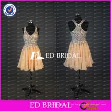 ЭД элегантные Свадебные реальный образец тяжелый вышивка бисером линии короткие шифон женщин платье