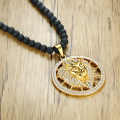 Hiphop CZ Gold Plated Lion Head Pendant Necklace