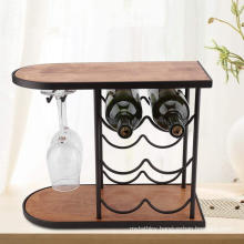 Metal and wood material dual use 6 bottles wine holder storage racks with glass holder countertop