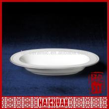Plato blanco de porcelana oblonga, plato de cena