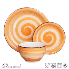 18PCS Ceramic Dinner Set Hand Painted Spinwash Design Brown Brush