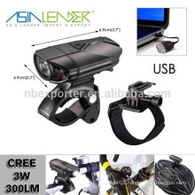 3 Modes - High, Middle & Low | USB Rechargeable, Water Resistant LED Bike Headlight