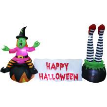 Aufblasbare Halloween-Hexe mit Halloween-Szenendekorationen