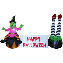 Bruja inflable de Halloween con decoraciones de escena de Halloween