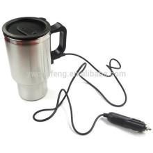 Taza eléctrica de la taza de café del adaptador de coche de la taza del viaje de la plata del recorrido del acero inoxidable de 12V 450ml