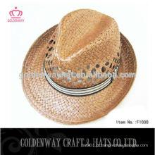 Chapéus grossos de fedora de palha com banda personalizada