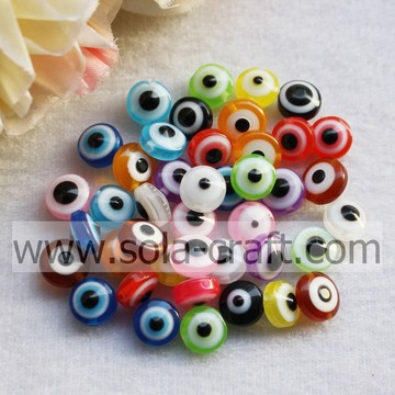 Beautiful And Decorative Jewelry Multi-Colored Stripes Resin Eye Beads Flat Round Beads