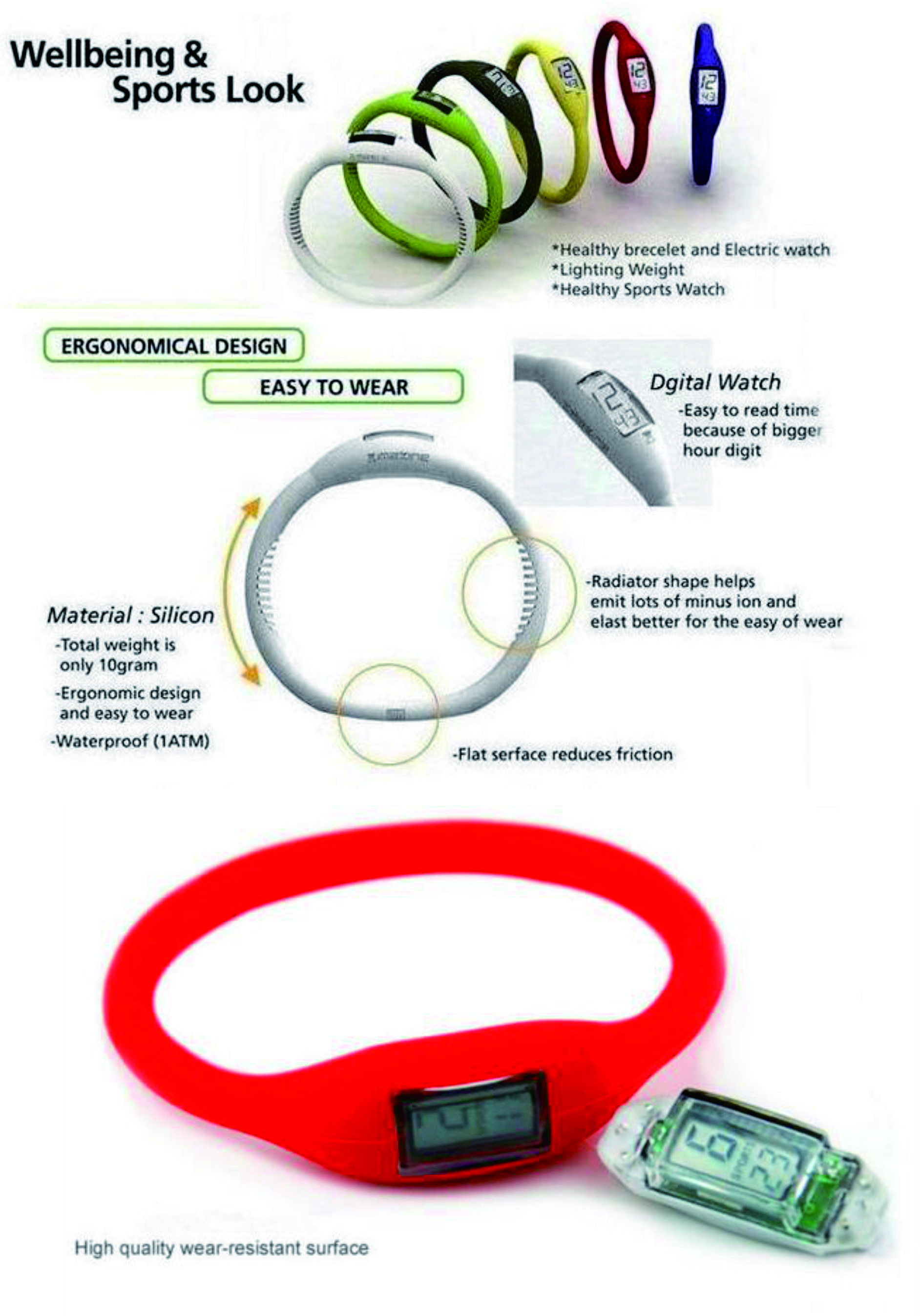 Energy silicone bracelet watches