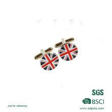 Lien de manchette de cadeau d'affaires rond de forme de drapeau adapté aux besoins du client