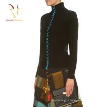 Mulheres Cashmere Turtle Pescoço Cardigan Sweater Cashmere Jumper