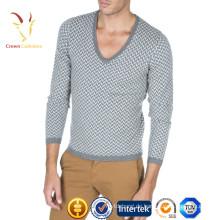 Hochwertiger reiner Kaschmir-V-Ausschnitt-dünner Pullover für Männer