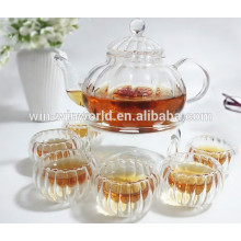 Handblown Clear Borosilicate Glass Pumpkin Grace Tea Ware Teapot