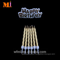 Long Standing Reputation Cake Decoration Pure Paraffin Metallic Gold Birthday Candle And Motto Set