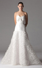 A-line Sweetheart Floor-length Organza Ruffled Wedding Dress