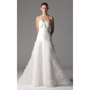 A-linje Sweetheart golv-längd Organza ruggig bröllop klänning