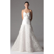A-line Sweetheart Floor-length Organza Ruffled Wedding Dress