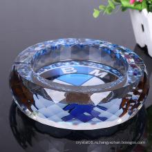 Круглый кристаллический стеклянный ashtray для украшения офиса (ks24894)