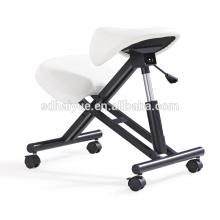 HY5001-1 Silla de rodillas ergonómica con asiento de silla de montar, Silla de oficina de silla de cuero blanco de ocio de la PU