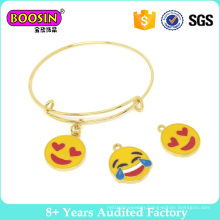 Emoji Charm Expandable Wire Bangle Bracelet