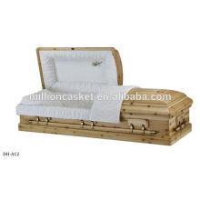 ataúd de madera con las manijas de la aleación de zinc