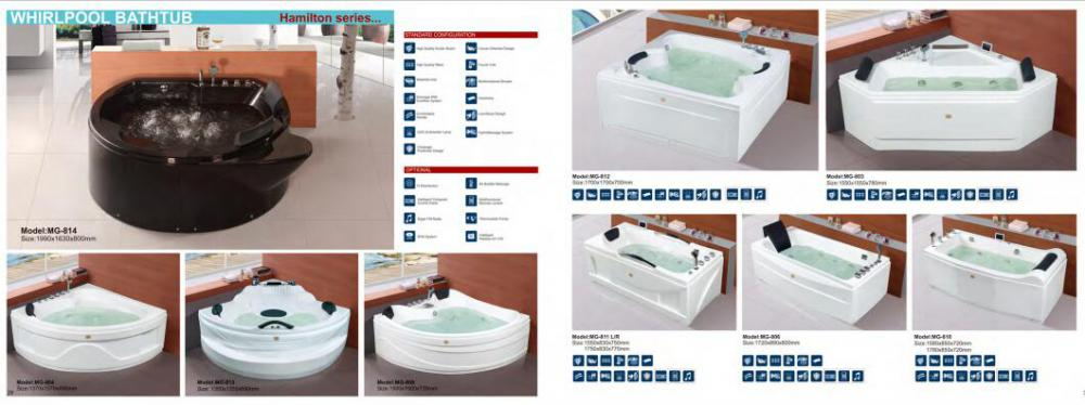 Sector Single Person Indoor TV Massage Bathtub
