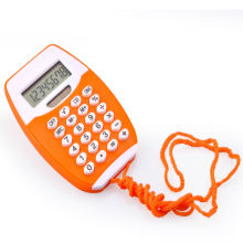 Mini calculatrice de poche avec cordon