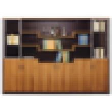 Biblioteca moderna de melamina con puertas de cristal