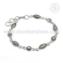 Glamorous Labradorite Gemstone Bracelet 925 Sterling Silver Jewelry Handmade Online Indian Jewelry