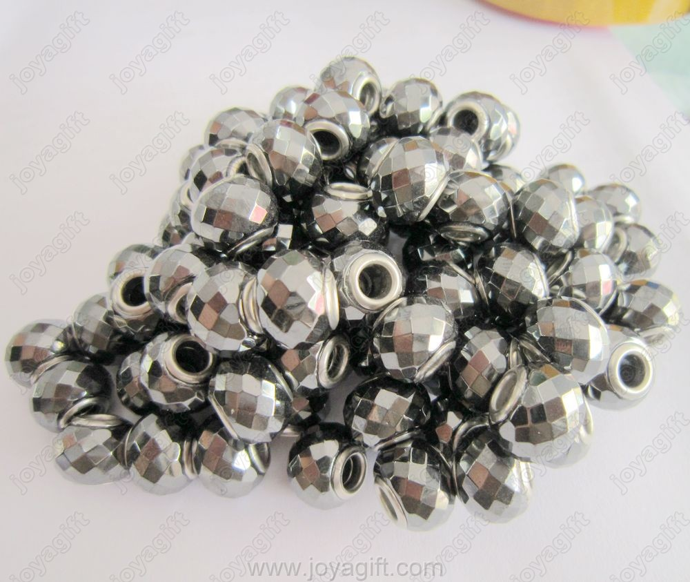 Black Pandora Hematite Facet Beads