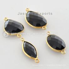 Fournisseur de gros Vermeil Black Onyx Gemstone Bezel Connector for Women Jewelry