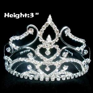 Mini coronas de diamantes de imitación en forma de corazón de 3 pulgadas
