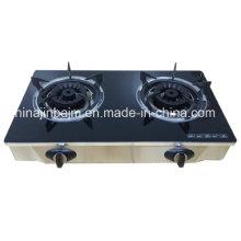 2 quemadores de vidrio templado superior de latón de 120 mm de latón quemador cocina / estufa de gas