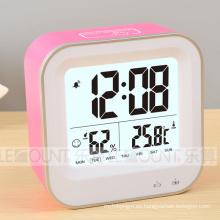 Reloj digital LCD recargable con temperatura y humedad