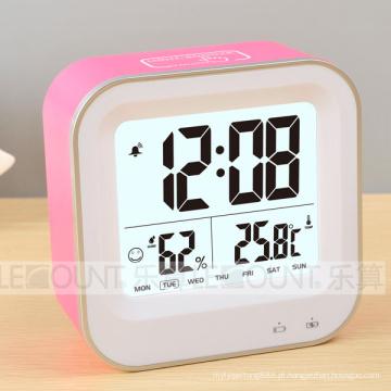 Relógio digital LCD recarregável com temperatura e umidade