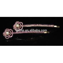 Diseño floral del metal de la manera Pinzas de cristal colorido del perno prisionero del Rhinestone rebordeadas Barrettes cristalinos