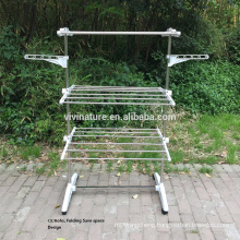 High Quality Foldable Rolling 8Wheels Clothes Laundry Drying Rack With Stainless Steel Hanging Rods