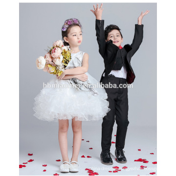 Pretty new fashion layered flower girl dress for party white color lace new model girl dress 2016 for wedding and performance