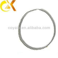 Delicado regalo de acero inoxidable joyas de plata de las mujeres de plata pequeño collar de perlas