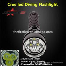 JEXREE 3XCREE XM-L2 LED Plongée Lampe de poche Lampe torche de chasse avec batterie 18650