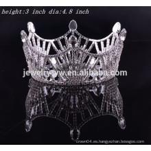 La tiara y la corona redondas completas del rhinestone de los accesorios del pelo nupciales para la venta