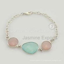 Grossiste fournisseur de Calcédoine Bracelet en pierres précieuses en argent