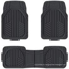Tapis de sol en caoutchouc 4PC avant et arrière robustes pour voiture SUV Van & Truck - Protection tous temps, ajustement universel