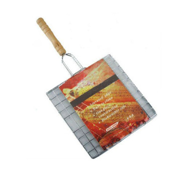Malla de alambre del bbq del cromo del metal con la manija de madera