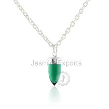 Dernier collier de pierre gemme plaqué or 18 carrés Emerald Quartz