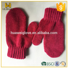 Fashion Cute Children Winter Knitted Acrylic Mittens without Lining
