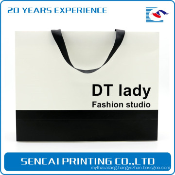 SenCai simple Black and white collocation paper bag with ribbon belt